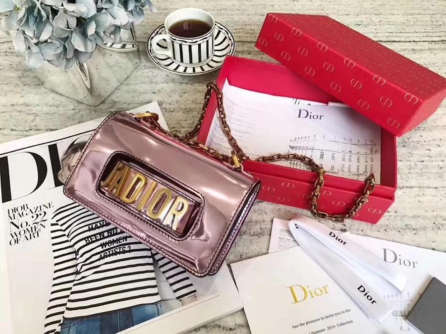 Top Replica Dior Mini J-adior Flap Bag in Pink Metallic Calfskin