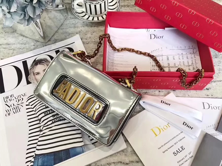 Top Replica Dior Mini J-adior Flap Bag in Silver Metallic Calfskin