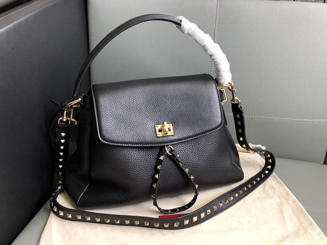 Original Copy Valentino Women Leather Handbag Black