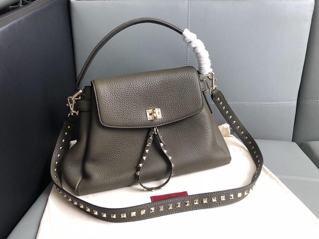 Original Copy Valentino Women Leather Handbag Dark Grey
